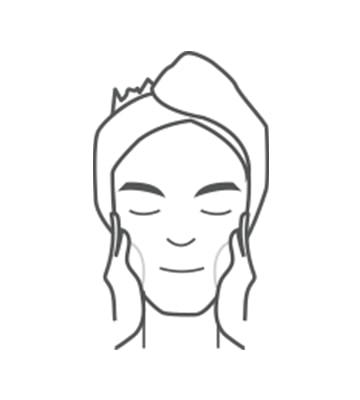 擠出適量潔面乳於手掌心於早晚臉部清潔時使用。