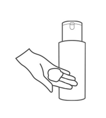 取用適量保濕乳於手掌心,並於早晚臉部清潔後使用。