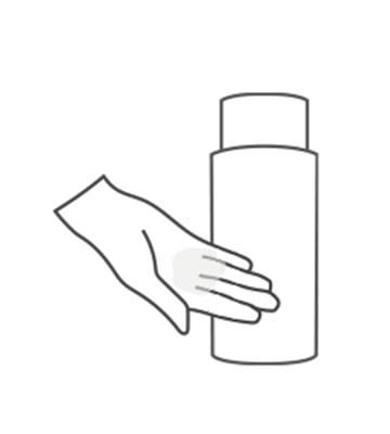 取用適量肌能水於手掌心,於早晚完成臉部清潔後使用。