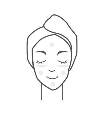 按壓一下,分別點在額頭、眼下、臉頰和下巴,像擦乳液一樣推勻即可。