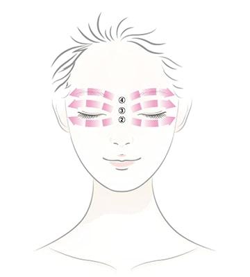 使用食指、中指及無名指,輕壓眼周穴道,幫助產品吸收