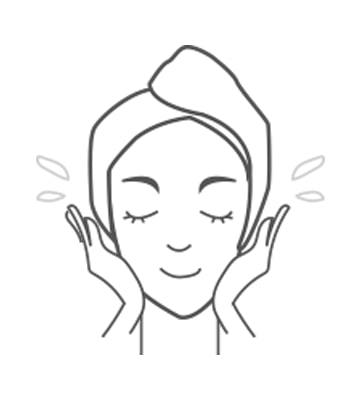以溫水洗淨臉部。