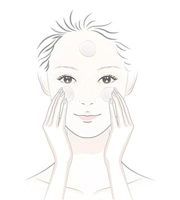 以手指沾取少量溫水加入臉部潔顏油繼續按摩30秒。