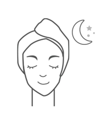 溫和的順著肌膚紋理,由裡而外展延面膜,在肌膚大約吸收緊膚膜後,可停留在臉上直待隔日早晨再卸洗乾淨。